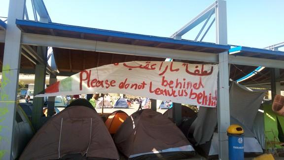 Pancarta amb el lema Foto: Isaac Besora.